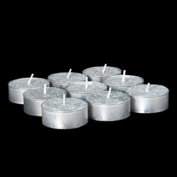 lot de 9 bougies chauffe plat argent d coration de table. Black Bedroom Furniture Sets. Home Design Ideas