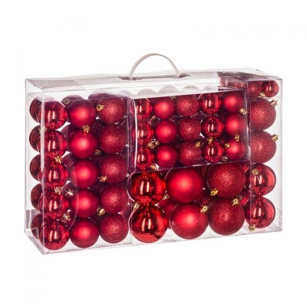 Kit De Decoration De Sapin De Noel 100 Boules Rouge Boule Et Deco