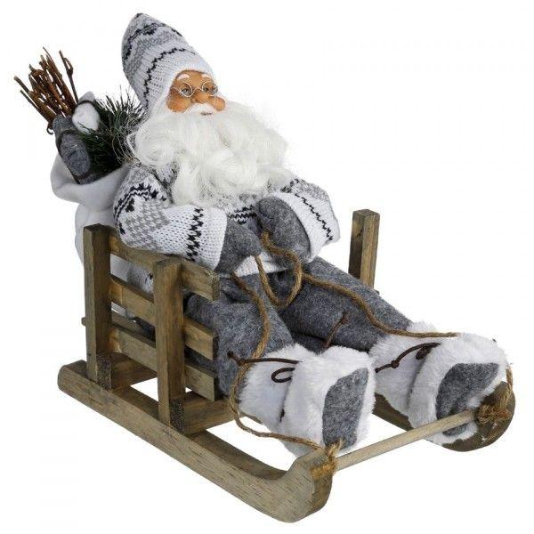 Kerstversiering Tafel: Kerstman Op Een Slee Balthazar H26 Cm