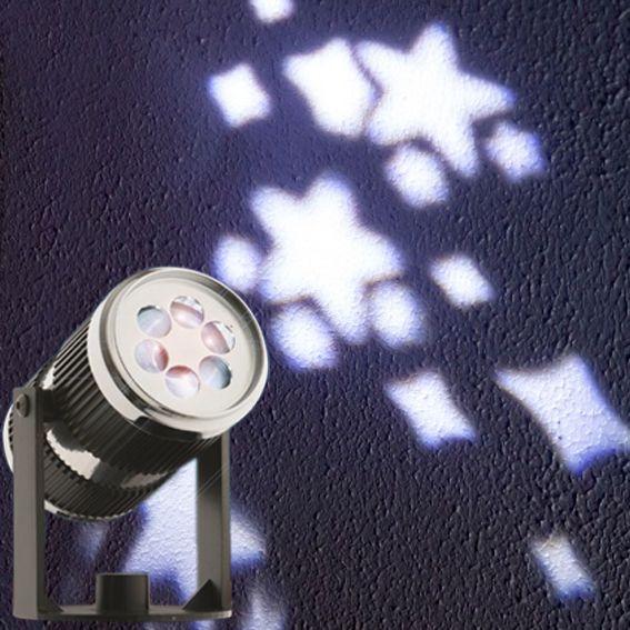 Projecteur laser toile blanc froid 4 led d coration lumineuse eminza for Projecteur etoile exterieur