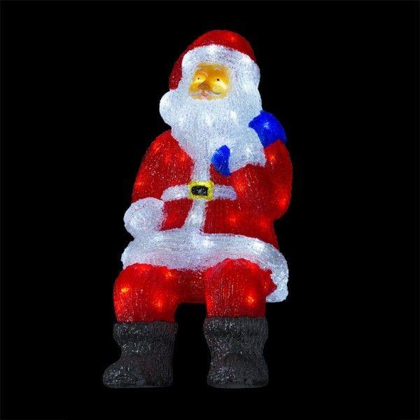 Père Noël lumineux assis Blanc froid 100 LED - Décoration lumineuse ... 9989e8dfd99b