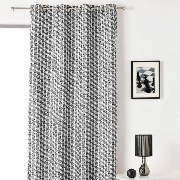 rideau tamisant 135 x 240 cm cube noir et blanc rideau tamisant eminza. Black Bedroom Furniture Sets. Home Design Ideas