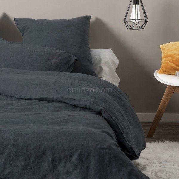 housse de couette 140 cm lin lav pure gris anthracite housse de couette eminza. Black Bedroom Furniture Sets. Home Design Ideas