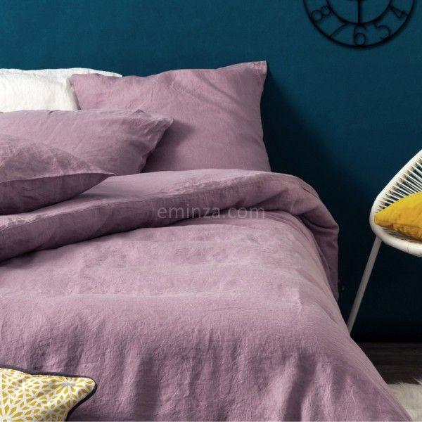 housse de couette 140 cm lin lav pure mauve housse de couette eminza. Black Bedroom Furniture Sets. Home Design Ideas
