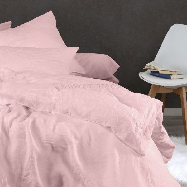 housse de couette 140 cm lin lav pure rose housse de couette eminza. Black Bedroom Furniture Sets. Home Design Ideas