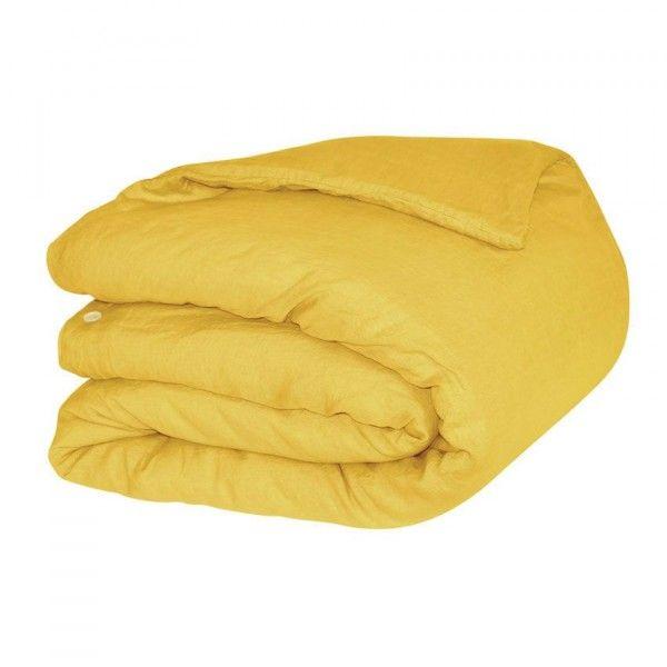 housse de couette 140 cm lin lav sonate jaune safran linge de lit eminza. Black Bedroom Furniture Sets. Home Design Ideas