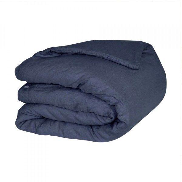 housse de couette 240 cm lin lav pure bleu indigo housse de couette eminza. Black Bedroom Furniture Sets. Home Design Ideas
