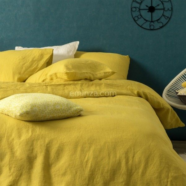 housse de couette 240 cm lin lav pure jaune safran housse de couette eminza. Black Bedroom Furniture Sets. Home Design Ideas
