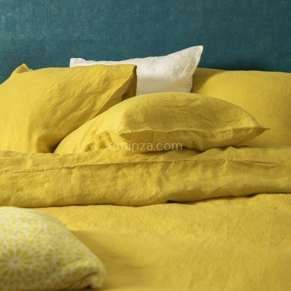 housse de couette 240 cm lin lav sonate jaune safran linge de lit eminza. Black Bedroom Furniture Sets. Home Design Ideas