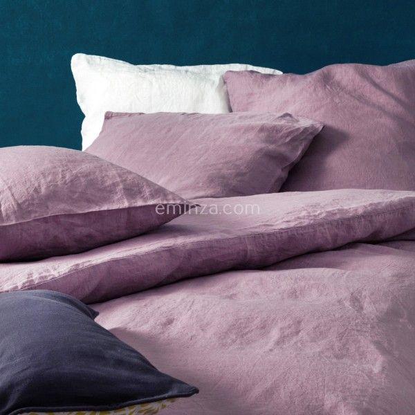 housse de couette 260 cm lin lav pure mauve housse de couette eminza. Black Bedroom Furniture Sets. Home Design Ideas