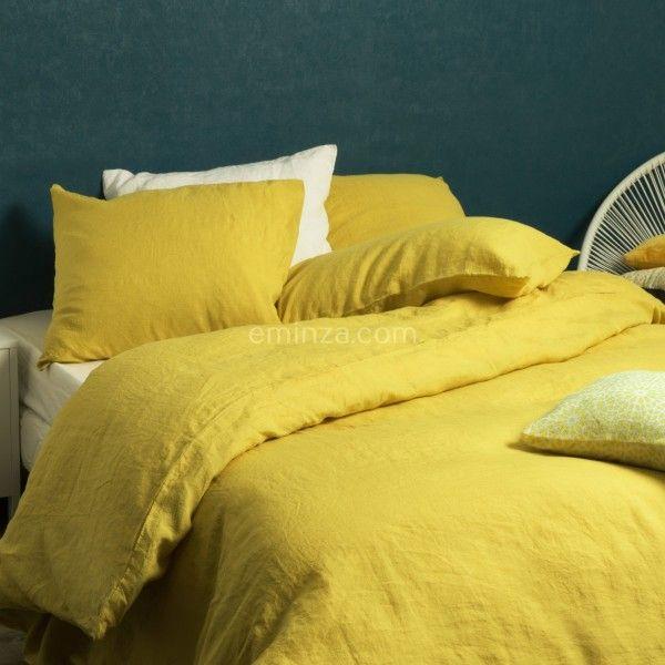 housse de couette 260 cm lin lav pure jaune safran housse de couette eminza. Black Bedroom Furniture Sets. Home Design Ideas