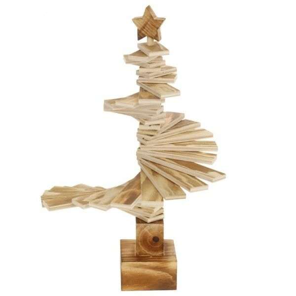 Sapin de table décoratif Spirale H39 cm Naturel