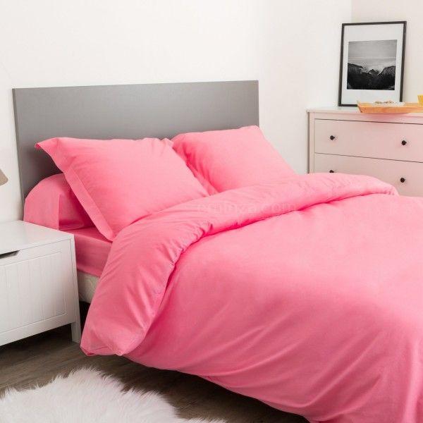 Housse de couette coton 200 cm confort rose clair - Housse de couette gris clair ...