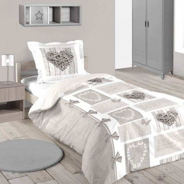 housse de couette et taie heart naturel coton 140 cm ecru housse de couette eminza. Black Bedroom Furniture Sets. Home Design Ideas