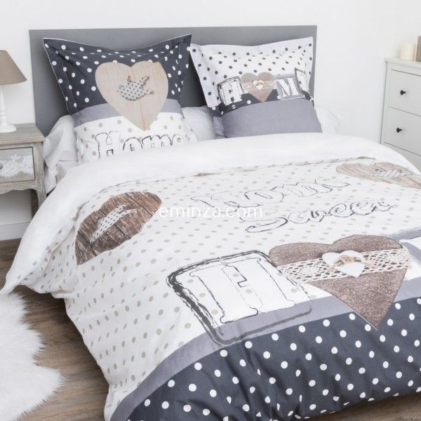 linge de lit gris style campagne chic eminza. Black Bedroom Furniture Sets. Home Design Ideas