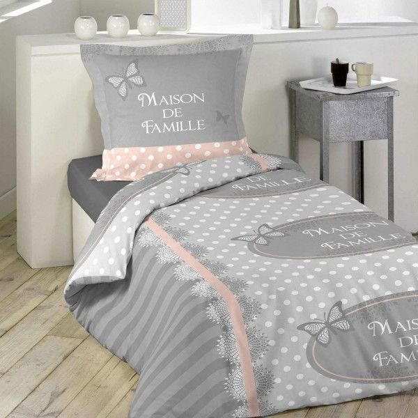 housse de couette et taie lili coton 140 cm gris housse de couette eminza. Black Bedroom Furniture Sets. Home Design Ideas