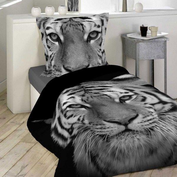 Housse de couette et taie tigery coton 140 cm noir - Housse de couette lit une place ...