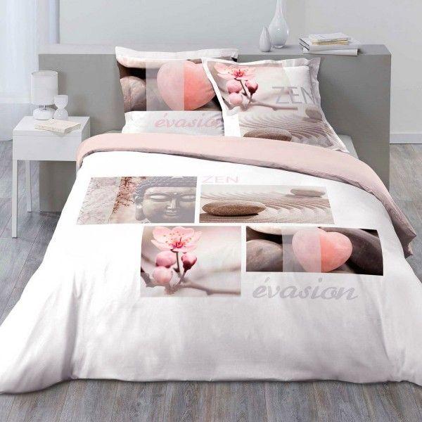 housse de couette et deux taies evasion coton 200 cm. Black Bedroom Furniture Sets. Home Design Ideas