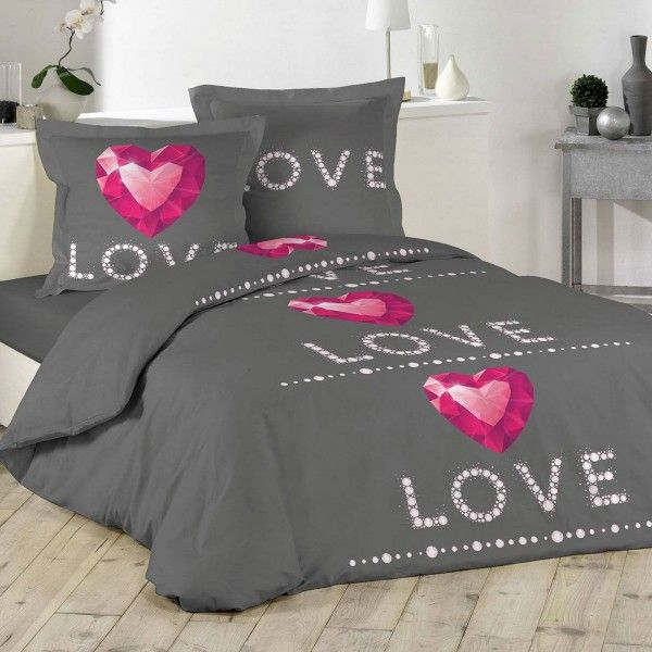housse de couette et deux taies ruby coton 200 cm gris anthracite linge de lit eminza. Black Bedroom Furniture Sets. Home Design Ideas