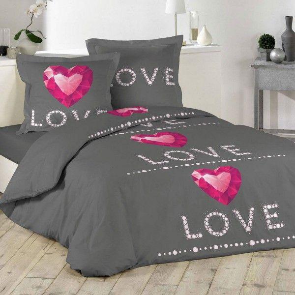 housse de couette et deux taies ruby coton 200 cm gris anthracite linge de lit eminza. Black Bedroom Furniture Sets. Home Design Ideas