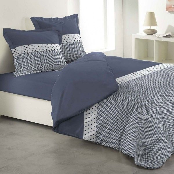 housse de couette et deux taies agatha coton 240 cm bleu. Black Bedroom Furniture Sets. Home Design Ideas