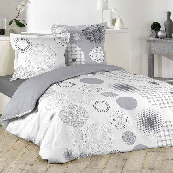 Housse de couette et deux taies bulleo coton 240 cm gris - Housse de couette gris clair ...