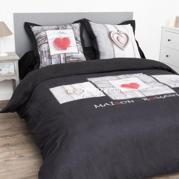 Housse de couette et deux taies coeur romantique coton 240 cm gris anthracite linge de lit - Housse de couette romantique ...