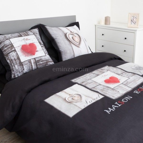 housse de couette et deux taies coeur romantique coton 240 cm gris anthracite linge de lit. Black Bedroom Furniture Sets. Home Design Ideas