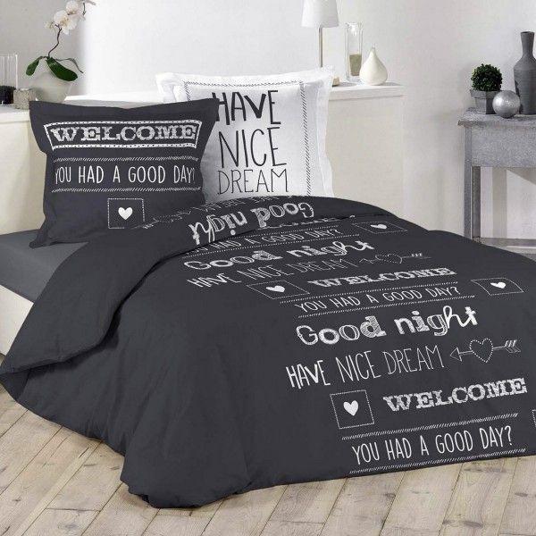 housse de couette et deux taies nice dream coton 260 cm gris housse de couette eminza. Black Bedroom Furniture Sets. Home Design Ideas