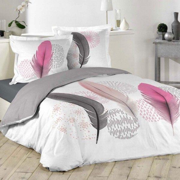 Housse de couette et deux taies pink dream coton 240 cm - Helline housse de couette ...