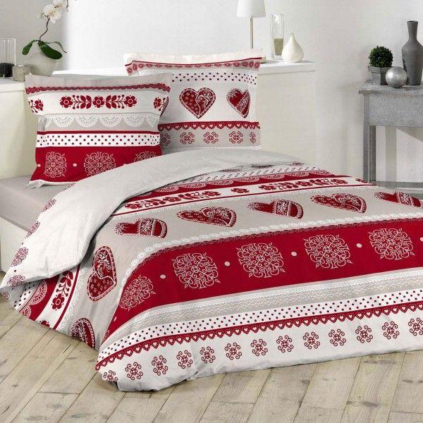 housse de couette et deux taies candy coeur coton 260 cm rouge housse de couette eminza. Black Bedroom Furniture Sets. Home Design Ideas