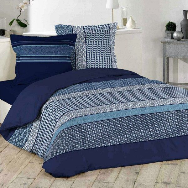 Housse de couette et deux taies coton (260 cm) Damara Bleu