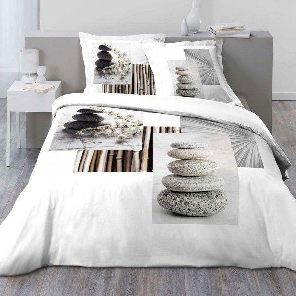 housse de couette et deux taies simply zen coton 260 cm gris clair linge de lit eminza. Black Bedroom Furniture Sets. Home Design Ideas