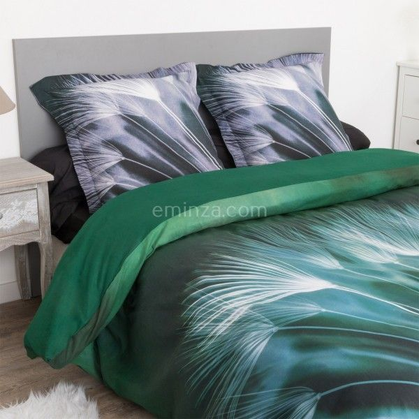 housse de couette et deux taies coton 260 cm volubilis vert housse de couette eminza. Black Bedroom Furniture Sets. Home Design Ideas