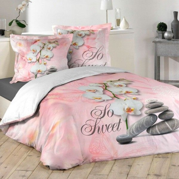 linge de lit rose rose p le eminza. Black Bedroom Furniture Sets. Home Design Ideas