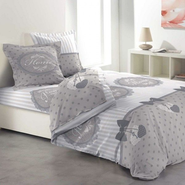 parure de draps 4 pi ces lit 160 cm 100 flanelle de coton romantic home gris parure de draps. Black Bedroom Furniture Sets. Home Design Ideas
