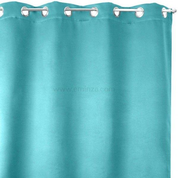 rideau obscurcissant isolant calore 140 x h180 cm bleu turquoise rideau voilage store. Black Bedroom Furniture Sets. Home Design Ideas