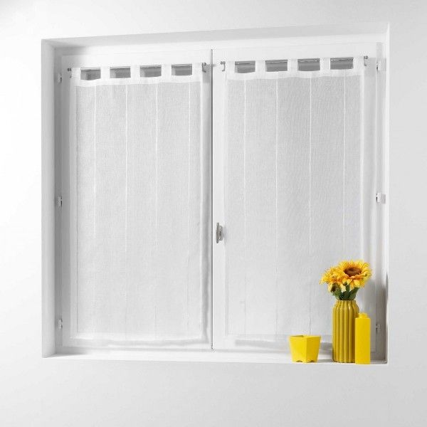 Paire de voilages 60 x 90 cm linahe blanc voilage eminza for Voilage cuisine 60 x 90