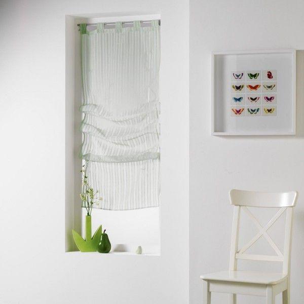 store voilage droit 60 x 180 cm lignati vert menthe voilage eminza. Black Bedroom Furniture Sets. Home Design Ideas
