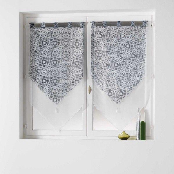 paire de voilages 60 x 120 cm tunis gris anthracite rideau voilage store eminza. Black Bedroom Furniture Sets. Home Design Ideas