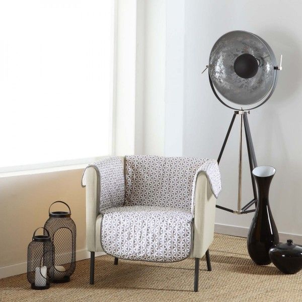 Housse de fauteuil Kiria Gris - Déco textile - Eminza