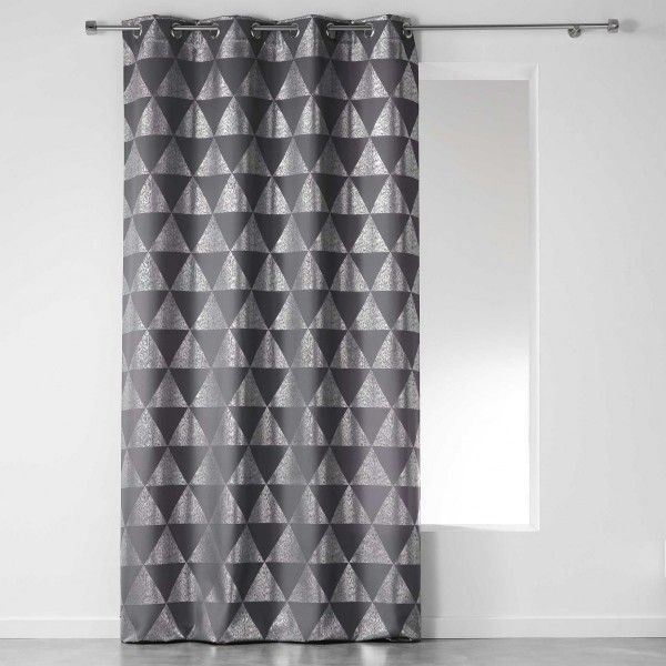 Rideau tamisant 140 x 280 cm frosty gris anthracite rideau tamisant eminza - Rideau de douche gris anthracite ...