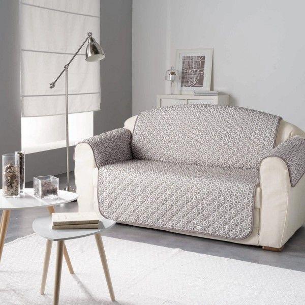 housse de canap 3 places kiria taupe d co textile eminza. Black Bedroom Furniture Sets. Home Design Ideas