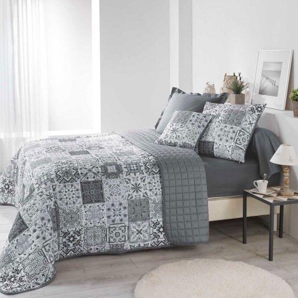couvre lit 220 x 240 cm persane gris linge de lit eminza. Black Bedroom Furniture Sets. Home Design Ideas
