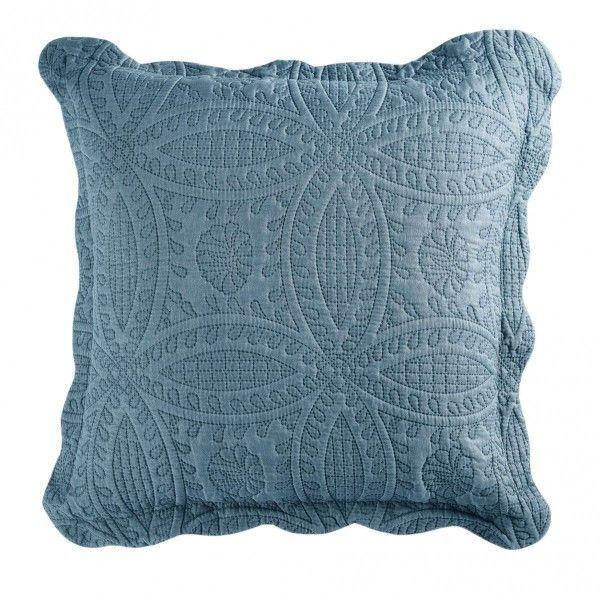 housse de coussin boutis 60 cm stony bleu d co textile. Black Bedroom Furniture Sets. Home Design Ideas