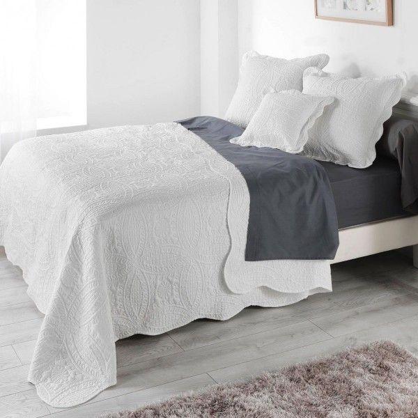 Couvre lit 220 x 240 cm matelass stony blanc linge de lit eminza - Couvre lit matelasse blanc ...