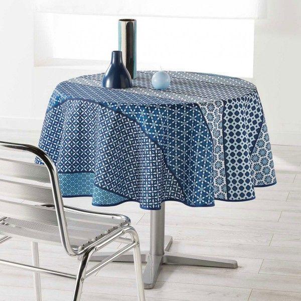 nappe ronde 180 cm bleu indigo nappe de table eminza. Black Bedroom Furniture Sets. Home Design Ideas