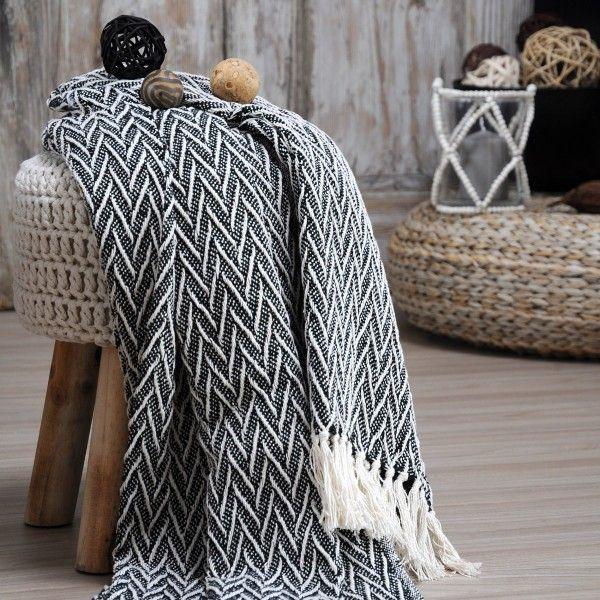 jet de canap 150 cm sioux noir d co textile eminza. Black Bedroom Furniture Sets. Home Design Ideas
