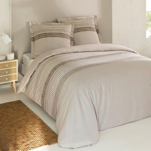 Housse de couette linge de lit eminza for Housse de couette noir et beige