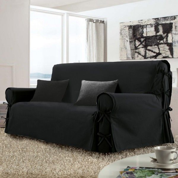 housse de canap 3 places stella noir housse de canap et clic clac eminza. Black Bedroom Furniture Sets. Home Design Ideas